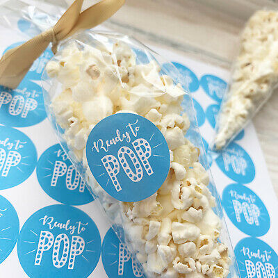 x35 Electric Blue Baby Shower Favour Stickers READY TO POP Boy Gender Reveal