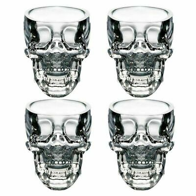 Set of (4) Authentic Glass Crystal Head Vodka Skull Shot Glasses Dan Akroyd