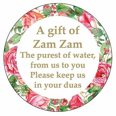 70 x ZAM ZAM WATER Floral Decorations Stickers MUSLIM WEDDING DUAS Gift 1064
