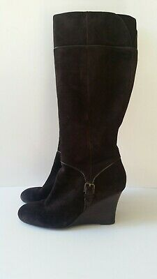 67fb361c8ce ANN TAYLOR LOFT Brown Suede Leather Tall Knee High Sz 8 Wedge Zip Dress  Boots