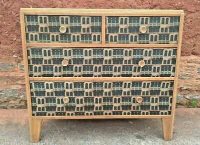 Retro Oak Chest Drawers - Upcycled Retro Chest ( Delivery Quote 👍 )
