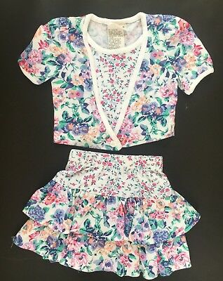 Vintage flowered toddler girls skirt and match top size 2T