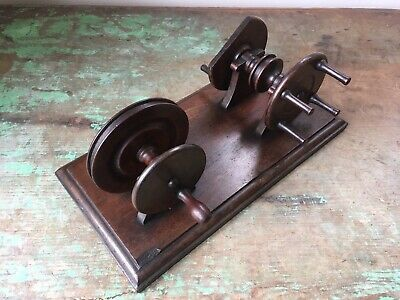 Antique Victorian Mahogany Wooden Fly Fishing Line Winder. Dryer, Waxer, Reel