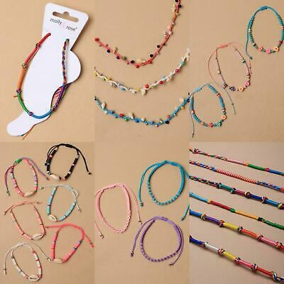 Assorted Coloured Cord Adjustable Bead Flower Shell Anklet