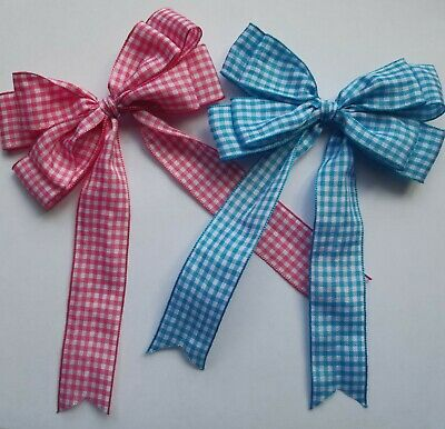 "Blue or Pink Large 10cm, 4"" Double Gingham Bow In  Packs of 2, 5 or 10"