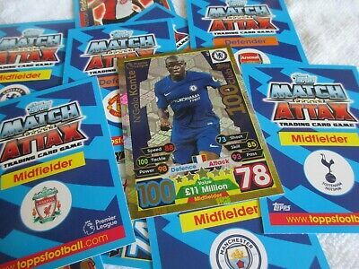 Match Attax Attack 17/18 2017/18 #441 N'Golo Kante Hundred 100 Club MINT