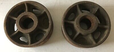 "Vintage Industrial Set (2) Metal Cast Iron Wheels 6"" Diameter Steampunk Cart"