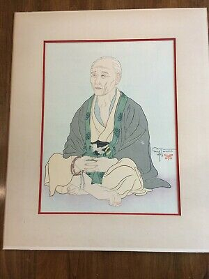 Paul Jacoulet Original 1940 Wood Block Print (Old Man With Rosary) Signed Matted