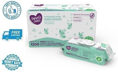 New 12 Packs of 100 Fragrance Free Infant Cleaning Hydroallergenic Baby Wipes