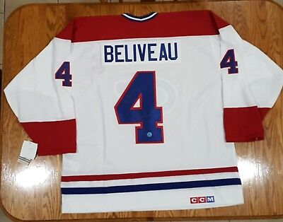 new style a90e8 3b394 JEAN BELIVEAU SIGNED Montreal Canadiens Red Vintage CCM ...