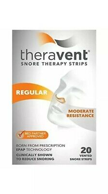 Theravent Snore Therapy Strips Regular 20 Vented Moderate Resistance Exp 03/2020