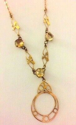 Very Unusual Antique Edwardian Art Nouveau 9ct Gold and Citrine Necklace- 3g.