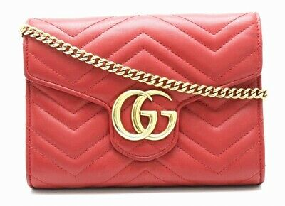 c0efa511d5e Auth GUCCI GG Marmont Chain Wallet Bag Quilted Leather Gold 474575 0  MO 11830149