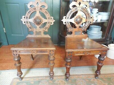 Antique English Victorian Pair of Gothic Style Carved Oak Hall Chairs