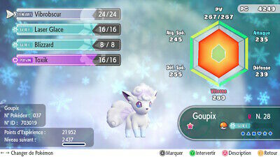 Pokemon Let's Go Vulpix Goupix Alola Shiny 6IV/AV EN/FR/ES/IT/DE