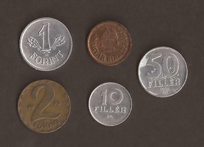 Hungary misc coins x 5. What you see is what you get! (scans of front and back)