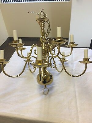 "10 light Polished Brass Chandelier Preowned 24"" by 24"""
