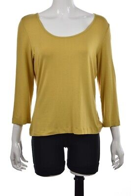NEW St John Womens Top Size L Yellow Knit 3/4 Sleeve Casual Shirt