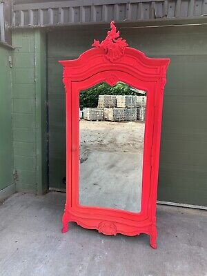 Unique French Pink Flocked Shabby Chic 1 Door Mirrored Armoire Wardrobe