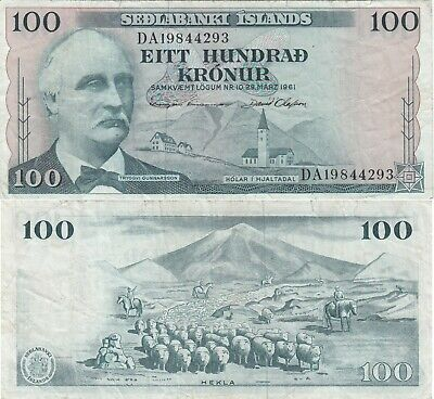 Iceland 100 Kronur Banknote (Similar Condition To Image)