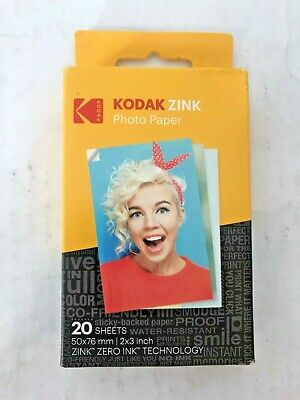 Kodak 2ʺx3ʺ Zink Photo Paper (20 Sheets) for KODAK Smile & Printomatic *LOT OF 2