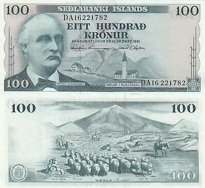 Iceland 100 Kronur Great Condition Banknote (Similar Condition To Image)