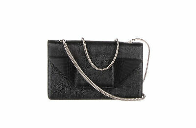 6ec519e5ca5 YSL, YVES SAINT LAURENT Black Calfskin Leather Fringe Emmanuelle ...