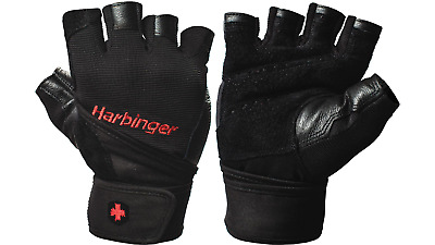 Harbinger 140 Ventilated Pro Wristwrap Weight Lifting Gloves - Black Medium
