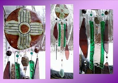 Zia Sun Glass Wind Chime Pottery Chimes Green Moss Hopi New Mexico Garden Decor