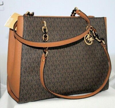 8e2bb28ef5fb MICHAEL KORS SUSANNAH Large Tote Bag Satchel Mk Signature Brown Pvc ...