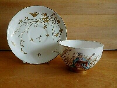 Rare 19Th Century Royal Worcester Japanese Female Figure Tea Cup And Saucer