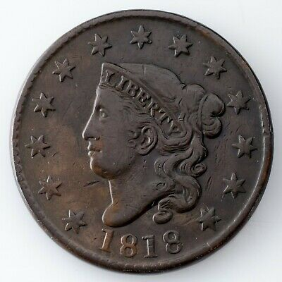 1818 Large Cent in VF Condition, All Brown Color, Strong Detail for Grade