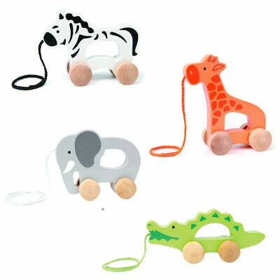 NEW Hape Wooden PUSH & PULL TOY Crocodile Elephant Giraffe Zebra FREE SHIPPING