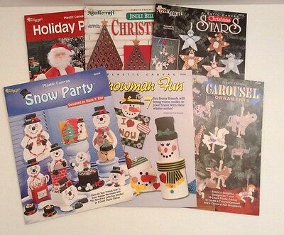 Plastic Canvas Patterns Christmas Stars Carousel Ornaments Snowman Lot of 6