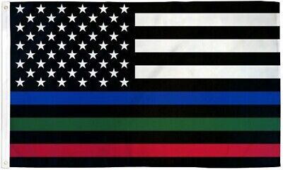 USA THIN BLUE RED GREEN LINE FLAG 3X5FT POLY  Police - Fire - Military FREE SHIP