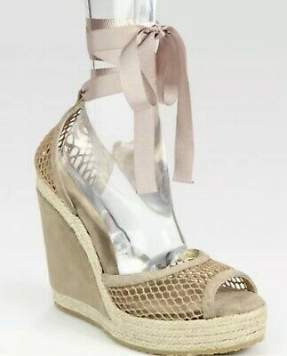 2845e8428df JIMMY CHOO PROMISE Suede Woven Espadrille Wedge Sandals Size 10.5US ...