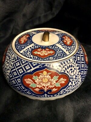 Atq Japanese Polychrome Porcelain Imari Domed Paste Box Jar Bowl Signed
