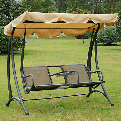 Outsunny Outdoor Swing Chair Two Seater Porch Hammock Bench Canopy Steel Center