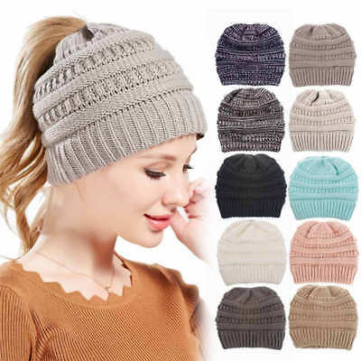 Women's Girl's Ponytail Beanie Skull Cap Soft Stretch Cable Knit High Bun Hats