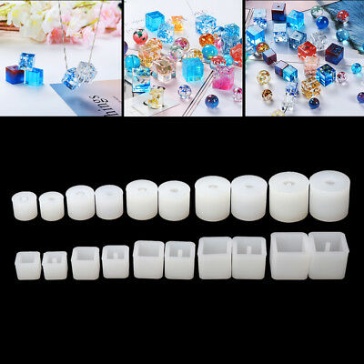 20Pcs Silicone DIY Round Square Beads Jewelry Making Resin Casting Mold Party