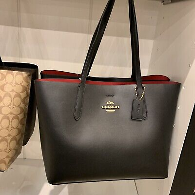 dcb86b05da Coach F31535 Smooth Leather Large Leather Avenue Tote Shoulder Bag  $350Black Red
