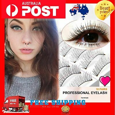 10 Pairs Long Thick Natural False Fake Eyelashes REUSABLE Extension Lashes Love