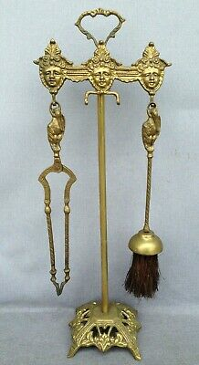 Antique french fireplace tools rack early 1900's Empire style made of bronze