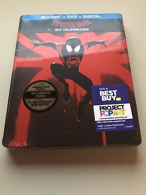 Sealed New Spider Man  Into The SpiderVerse Best Buy Exclusive Steelbook Blu-ray