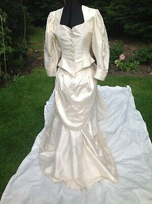 Vintage Droopy and Brown Ivory Silk Wedding outfit Maxi skirt train jacket S12