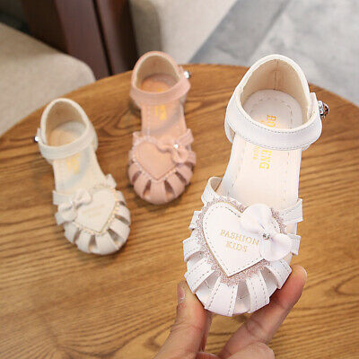 Kids Childrens Girls Infants Summer Flat Glitter Party Sandals Shoes Casual Size