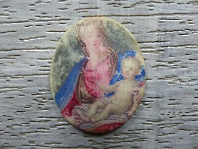 ANTIQUE 17th / 18th CENTURY VIRGIN MARY & JESUS MINIATURE PAINTING 1650's 1750's