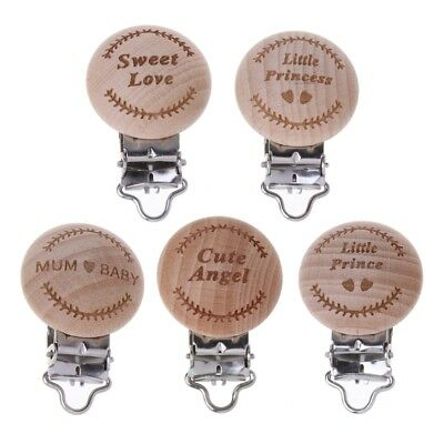 Natural Beech Wood Baby Pacifier Clip Engraved Pacifier Wooden Holder Dummy Clip