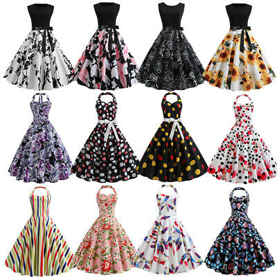 Womens 1950s Vintage Rockabilly Pinup Housewife Evening Party Prom Swing Dress