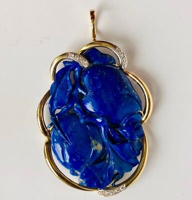 14K Yellow Gold HUGE Carved Orchad Lapis Lazuli Diamond Scalloped Border Pendant